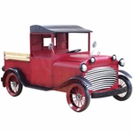 """Large Old Style """"Stockton"""" Red Truck w/Moving Wheels"""