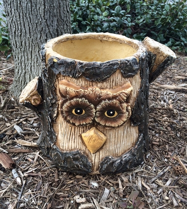 Large Owl Planter Tree Face Flower Pot - Click to enlarge