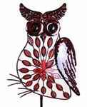 Large Red Filigree Owl Stakes w/Leaves