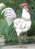 "48"" Large Iron Garden Rooster - White"