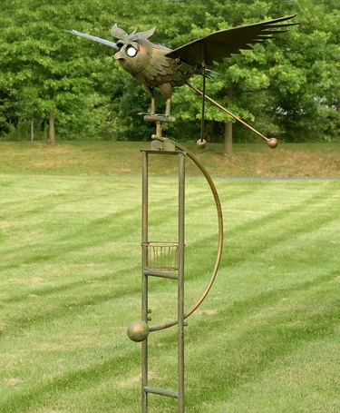 Large Rocking Owl w/Moving Wings & Solar Eyes - Click to enlarge
