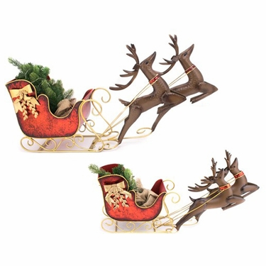 Large & Small Christmas Sleighs w/Reindeer - Click to enlarge
