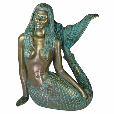 Large Sultry Mermaid Statue - Blue Verde Finish - Click to enlarge