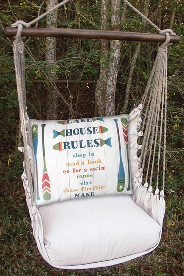 Latte Lake House Rules Hammock Chair Swing Set - Click to enlarge