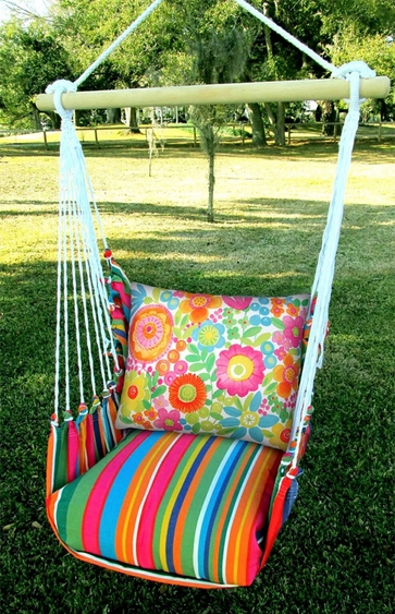 Le Jardin Flowers All Over Hammock Chair Swing Set - Click to enlarge