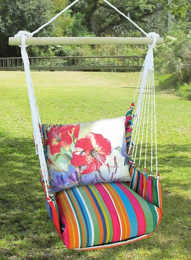 Le Jardin Red Lilies Hammock Chair Swing Set - Click to enlarge