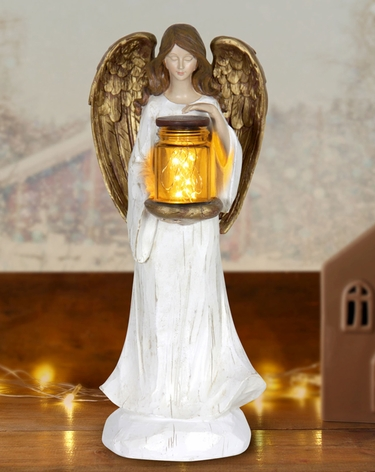 LED Angel w/Jar of Fireflies - Battery Powered - Click to enlarge