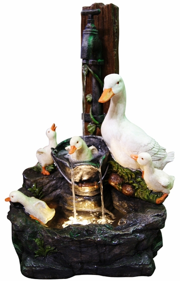 LED Bathing Ducks Outdoor Fountain - Click to enlarge