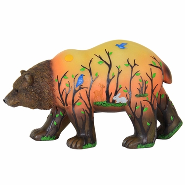 LED Bear Statue w/Forest Silhouette - Battery Powered - Click to enlarge