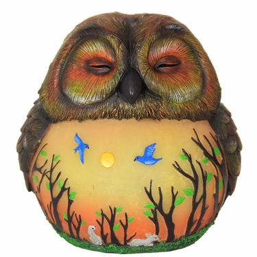 LED Owl Statue w/Forest Silhouette - Battery Powered - Click to enlarge