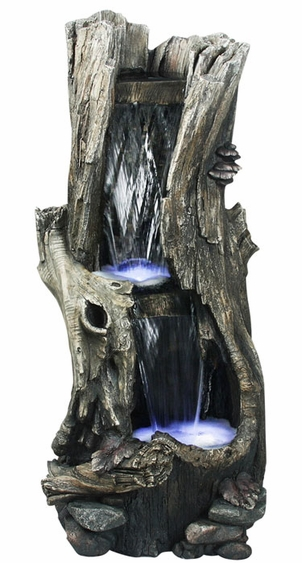 LED Rainforest Vertical Waterfall Outdoor Fountain - Click to enlarge