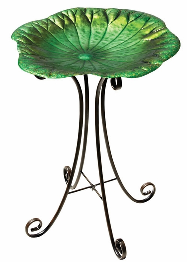Lily Pad Bird Bath w/Stand - Click to enlarge