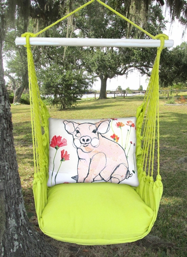 Lime Yellow Piglet Hammock Chair Swing Set - Click to enlarge
