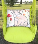Lime Yellow Piglet Hammock Chair Swing Set
