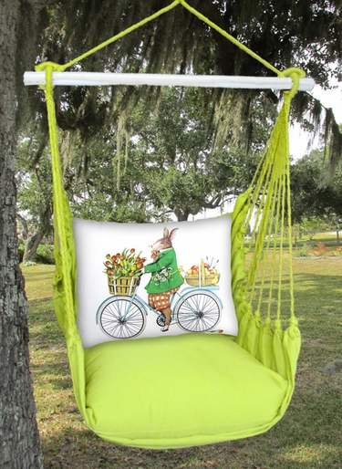 Lime Yellow Spring Bunny Hammock Chair Swing Set - Click to enlarge