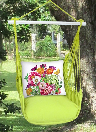 Lime Yellow Summer Bouquet Hammock Chair Swing Set - Click to enlarge