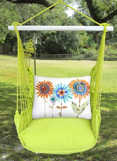 Lime Yellow Summer Sunflowers Hammock Chair Swing Set - Click to enlarge