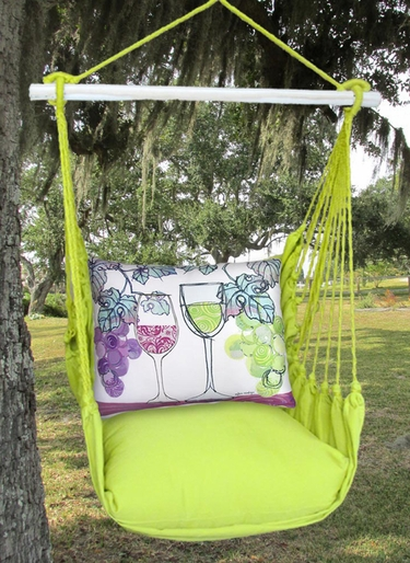 Lime Yellow Wine Glasses Hammock Chair Swing Set - Click to enlarge