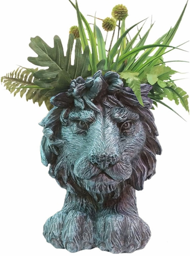 Lion Mascot Planter - Graystone Finish - Click to enlarge