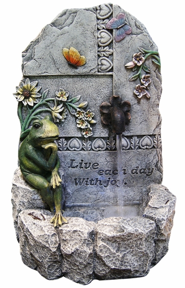 Live Each Day with Joy Outdoor Fountain w/Light - Click to enlarge