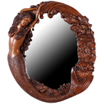 Long Hair Mermaid's Reef Mirror - Wood Finish