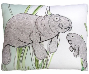 Manatees in Marsh Outdoor Pillow - Click to enlarge