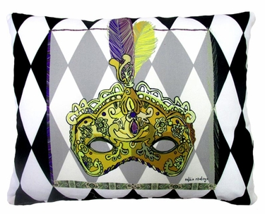 Mardi Gras Mask Outdoor Pillow - Click to enlarge