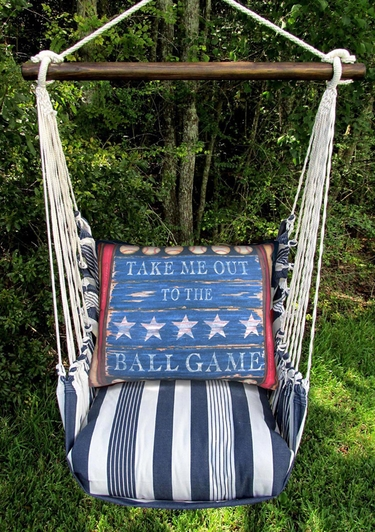 Marina Stripe Baseball Sign Hammock Chair Swing Set - Click to enlarge
