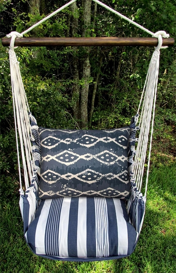 Marina Stripe Blue Batik Hammock Chair Swing Set - Click to enlarge