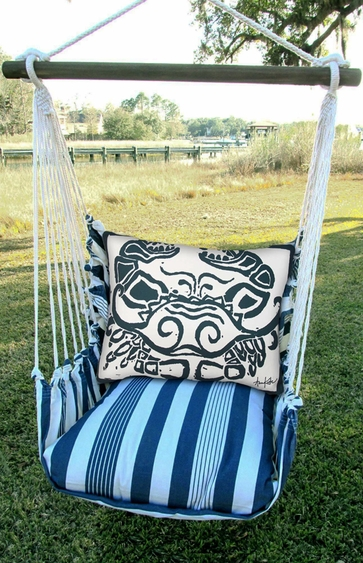 Marina Stripe Crab Block Hammock Chair Swing Set - Click to enlarge