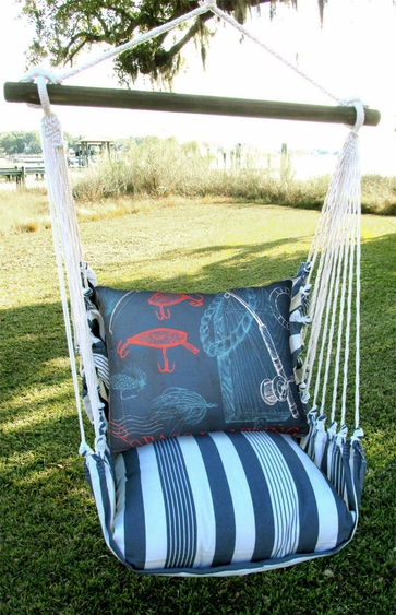 Marina Stripe Fishing Rods Hammock Chair Swing Set - Click to enlarge
