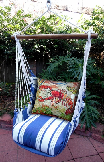 Marina Stripe Fresh Catch Lobster Hammock Chair Swing Set - Click to enlarge
