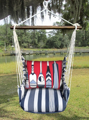 Marina Stripe Paddles Hammock Chair Swing Set - Click to enlarge
