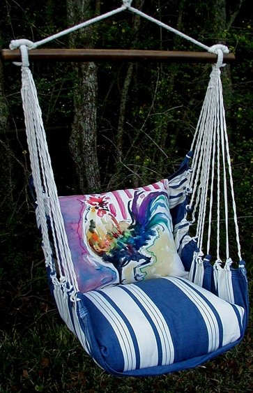 Marina Stripe Rooster Hammock Chair Swing Set - Click to enlarge