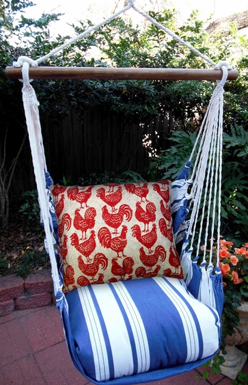 Marina Stripe Roosters All Over Hammock Chair Swing Set - Click to enlarge