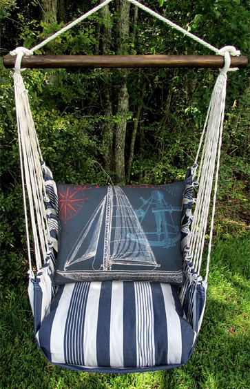 Marina Stripe Sailboat Blue Hammock Chair Swing Set - Click to enlarge