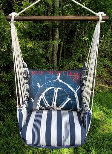 Marina Stripe Sailboat Wheel Hammock Chair Swing Set - Click to enlarge