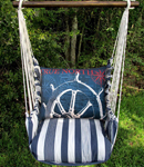 Marina Stripe Sailboat Wheel Hammock Chair Swing Set