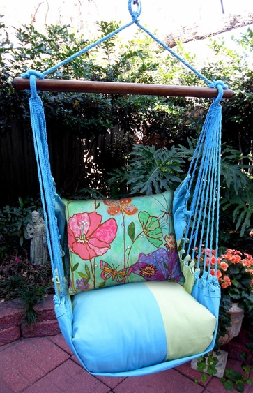 Gentil Meadow Mist Floral Canvas Hammock Chair Swing Set