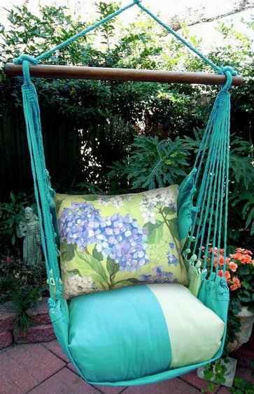 Meadow Mist Hydrangea Hammock Chair Swing Set - Click to enlarge