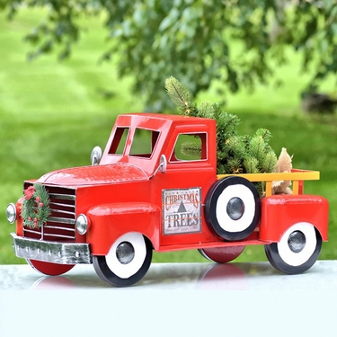 Medium Red Christmas Truck w/LED Tree - Click to enlarge