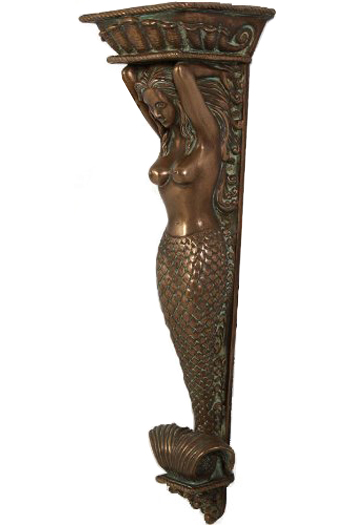 Mermaid Nautical Wall Pilaster - Bronze Finish - Click to enlarge