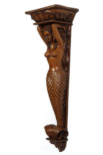 Mermaid Nautical Wall Pilaster - Wood Finish - Click to enlarge