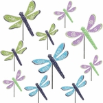 3 DOZEN Metal Dragonfly Garden Picks!