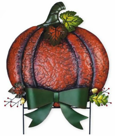 Metal Fall Pumpkin w/Bow - Click to enlarge