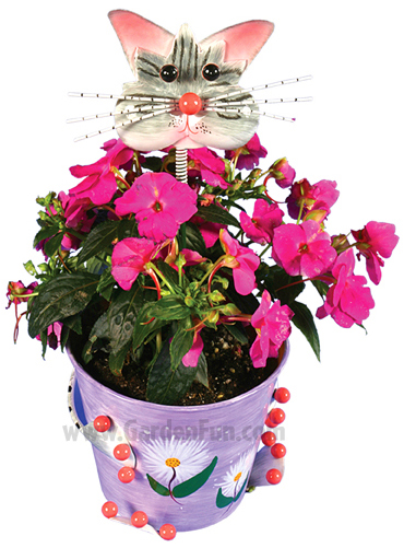 Metal Flower Pot w/Frisky Cat Head - Click to enlarge