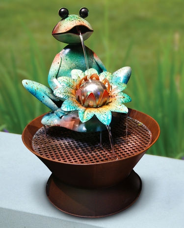 Metal Frog & Flower Fountain - Click to enlarge