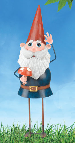 Metal Gnome Garden Stake - Click to enlarge