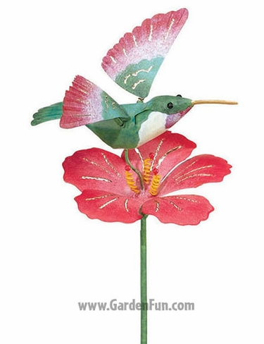 Metal Hummingbird with Flower Decor - Click to enlarge