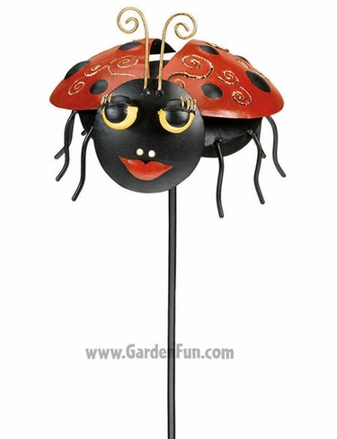Metal Ladybug Garden Stake - Click to enlarge